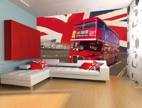 GIANT WALLPAPER WALL MURAL LONDON BUS UNION JACK THEME DESIGN